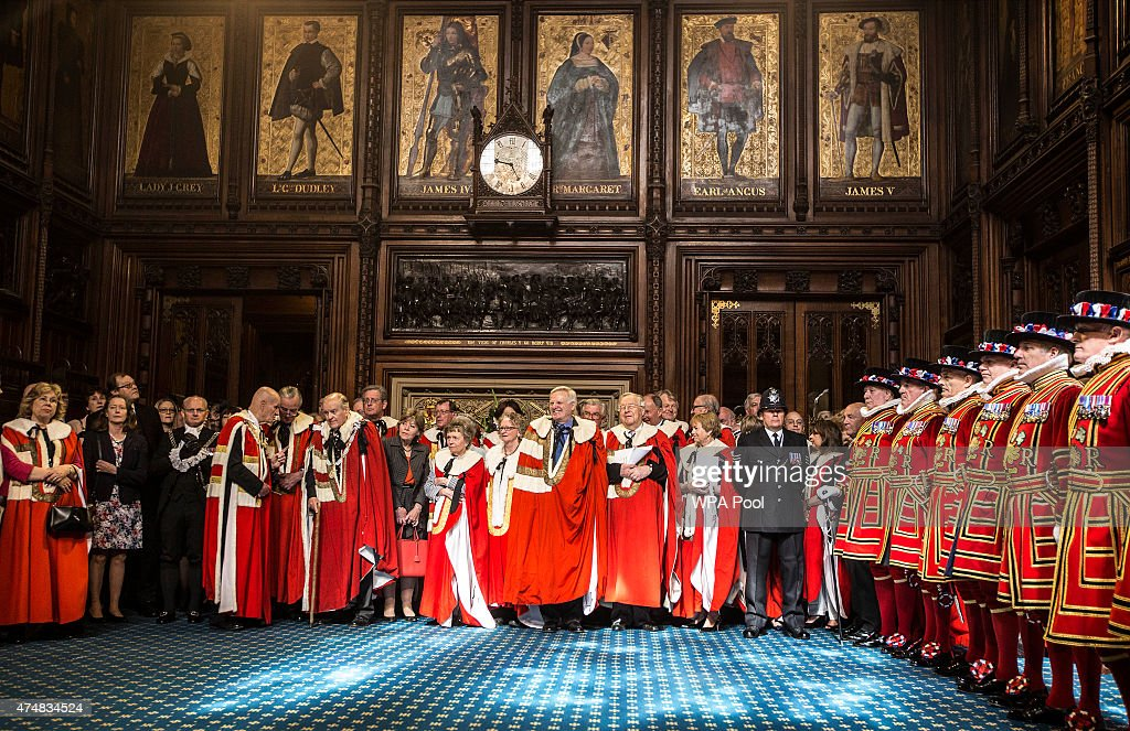 Members of the House of Lords including Lord Michael Grade gather to watch the ceremonial search ahead of the State Opening of Parliament in the...