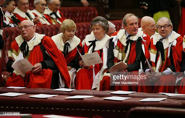 Members of The House of Lords sit in the chamber as they wait for the State Opening of Parliament on May 9 2012 in London England Queen Elizabeth II...