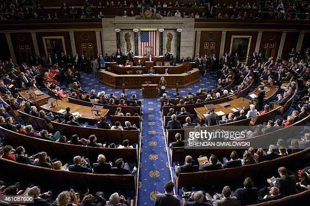 Members of the House of Representatives meet on Capitol Hill January 6 2015 in Washington DC The 114th Congress convened today with Republicans...