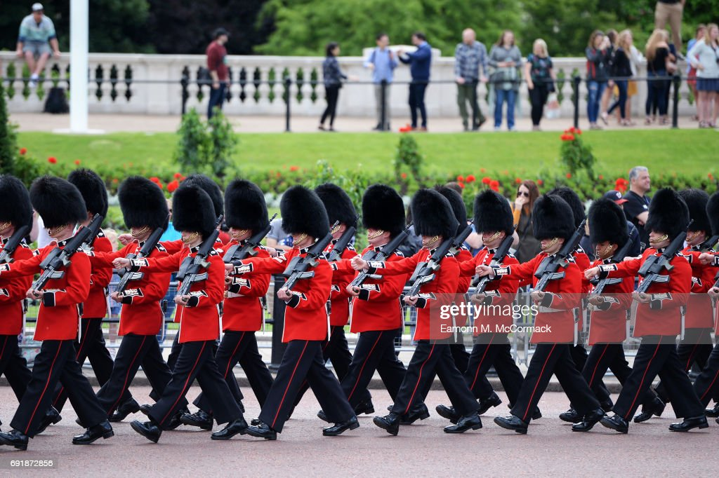 Members of the Household Cavalry and The Irish Guards take part in the annual Major General's review on June 3, 2017 in London, United Kingdom.