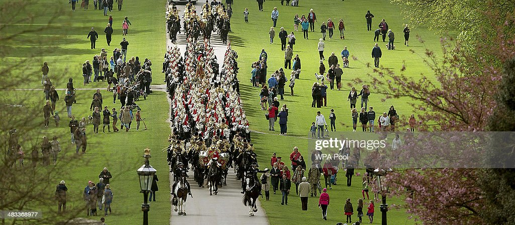Members of the Household cavalry arrive at Windsor Castle during the first State visit to the UK by an Irish President on April 8, 2014 in Windsor, England. This is the first official visit by the head of state of the Irish Republic to the United Kingdom.