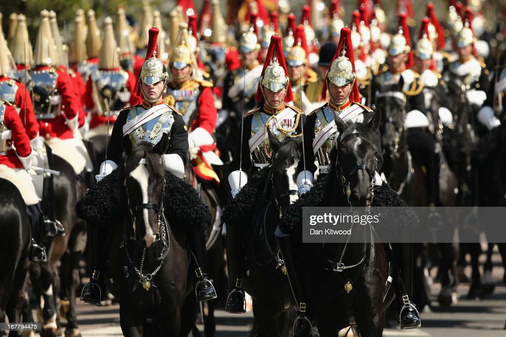 Members of the Household Cavalry process ahead of the arrival of The President of the United Arab Emirates, His Highness Sheikh Khalifa bin Zayed Al Nahyan on the Royal Dais on April 30, 2013 in Windsor, England. President Sheikh Khalifa begins a State visit to the UK today, the first for a UEA President in 24 years. Sheikh Khalifa will meet the British Prime Minister David Cameron tomorrow at his Downing Street residence.