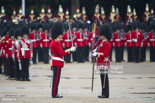 Members of the Household Division during the Colonel's Review the final rehearsal of Trooping the Colour the Queen's annual Birthday parade in...