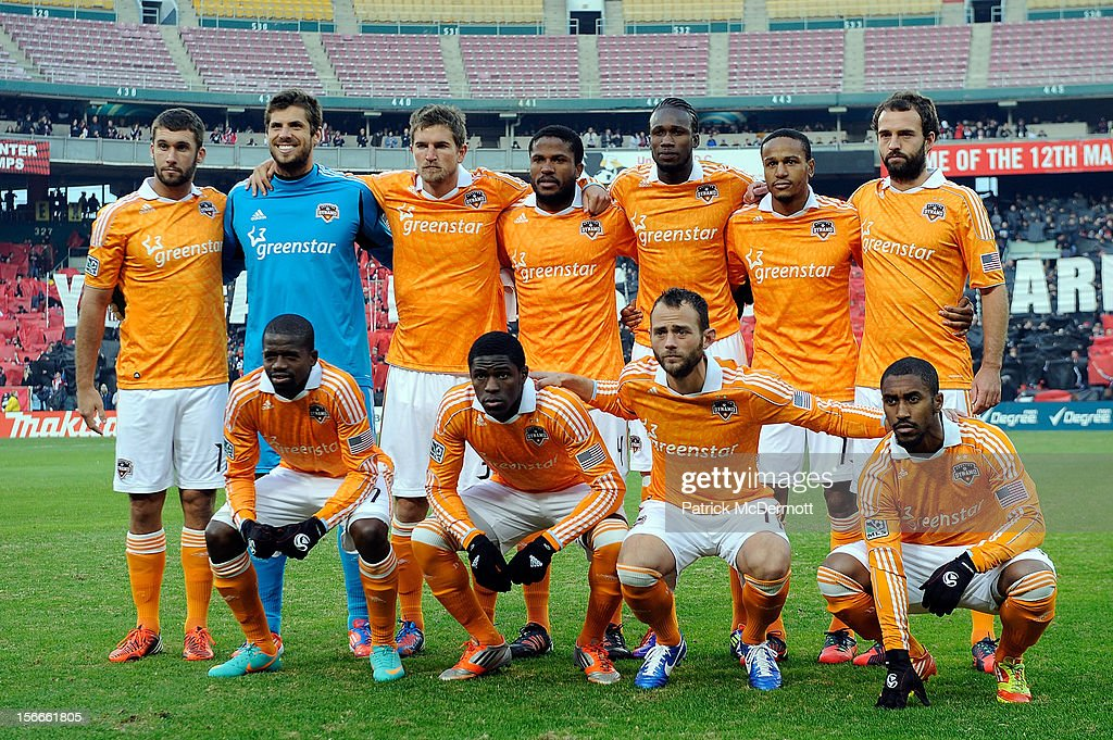 Members of the Houston Dynamo stand for the team photo before a game against D.C. United during leg 2 of the Eastern Conference Championship at RFK Stadium on November 18, 2012 in Washington, DC.