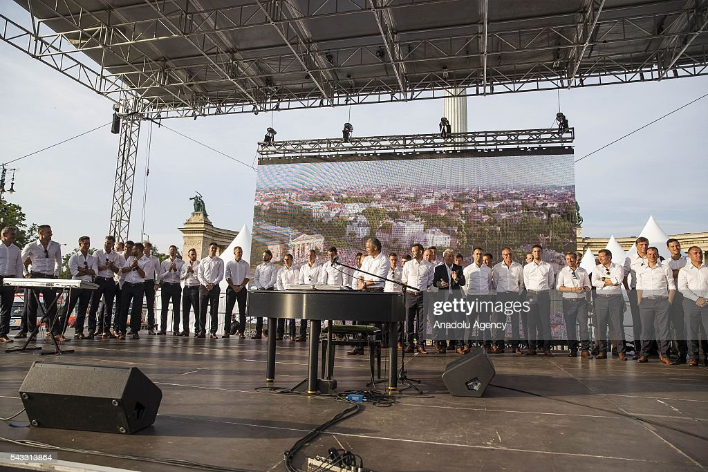 Members of the Hungarian National Football Team celebrate after they return from Euro 2016 in Budapest, Hungary on June 27, 2016.