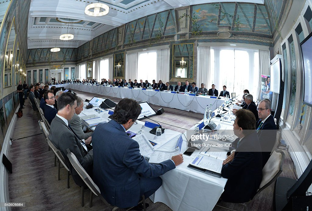 Members of the ICC Council during the ICC Full Council meeting at The Waldorf Astoria, The Caledonian on June 30, 2016 in Edinburgh, Scotland.