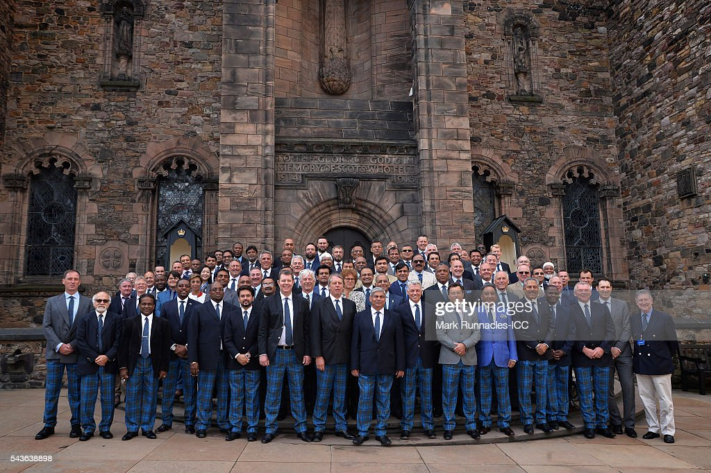 Members of the ICC Council pose for a photograph at the Scottish National War Memorial at Edinburgh Castle on June 29, 2016 in Edinburgh, Scotland.