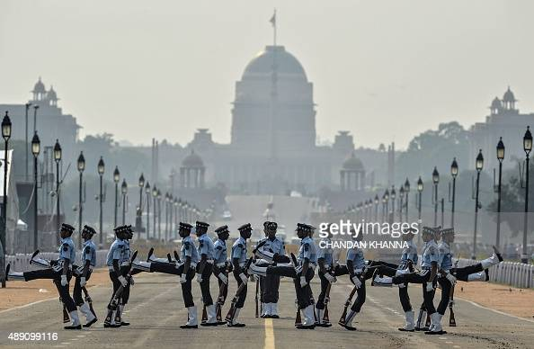 Members of the Indian Air Force Air Warrior drill team display their rifle handling skills during rehearsals for Shauryanjali a commemorative...