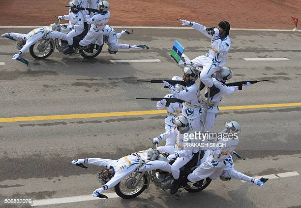 Members of the Indian Army motorcycle team 'Daredevils' perform during the Republic Day Parade in New Delhi on January 26 2016 Thousands gathered in...