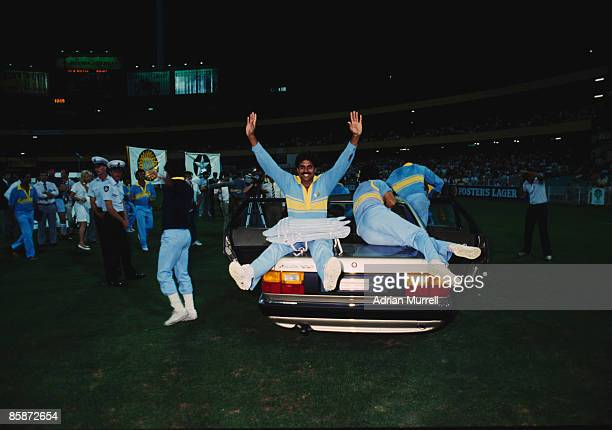 Members of the Indian cricket team celebrate their victory over Pakistan in the final of the World Championship of Cricket One Day International...