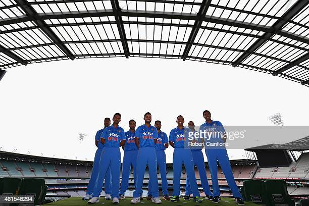 Members of the Indian cricket team Umesh Yadav Rohit Sharma RJadeja Shikhar Dhawan Ajinkya Rahane Virat Kohli MS Dhoni RAshwin are seen during the...