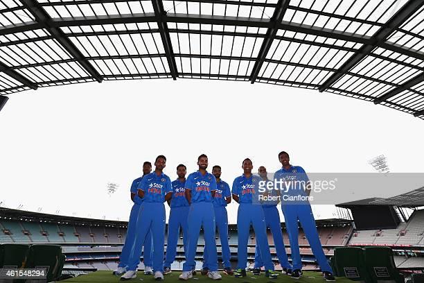 Members of the Indian cricket team Umesh Yadav Rohit Sharma RJadeja Shikhar Dhawan Ajinkya Rahane Virat Kohli MS Dhoni RAshwin are seen during the...