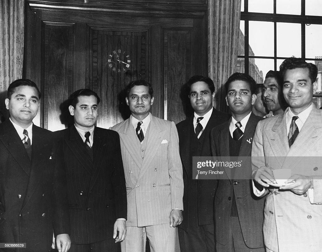 Members of the Indian Test Cricket Team Khokhan Sen Pranab Roy Vijay Hazare Ramash Divecha Vijay Manjrekar and Sadu Shinde at a reception held for...