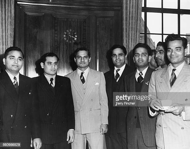 Members of the Indian Test Cricket Team Khokhan Sen Pranab Roy Vijay Hazare Ramash Divecha Vijay Manjrekar and Sadu Shinde at a reception held for...
