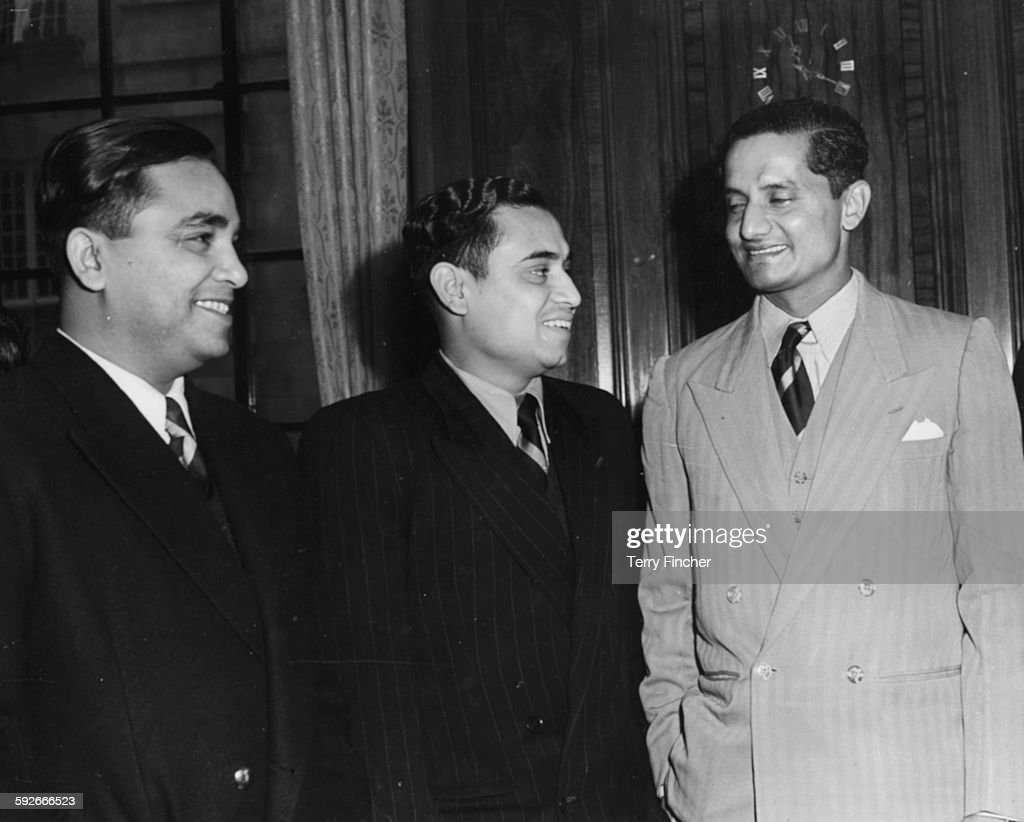 Members of the Indian Test Cricket Team Khokhan Sen Pranab Roy and Vijay Hazare at a reception held for them prior to their tour of Britain at India...