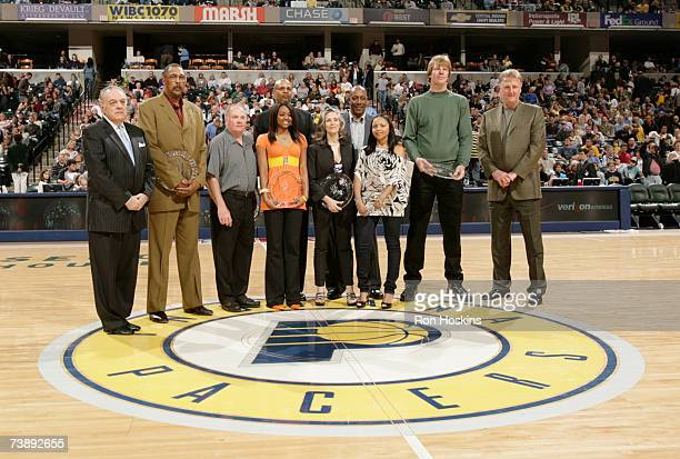 Members of the Indiana Pacers 40th Anniversary Team and were honored at the Pacers and New Jersey Nets game at Conseco Fieldhouse on April 15 2007 in...