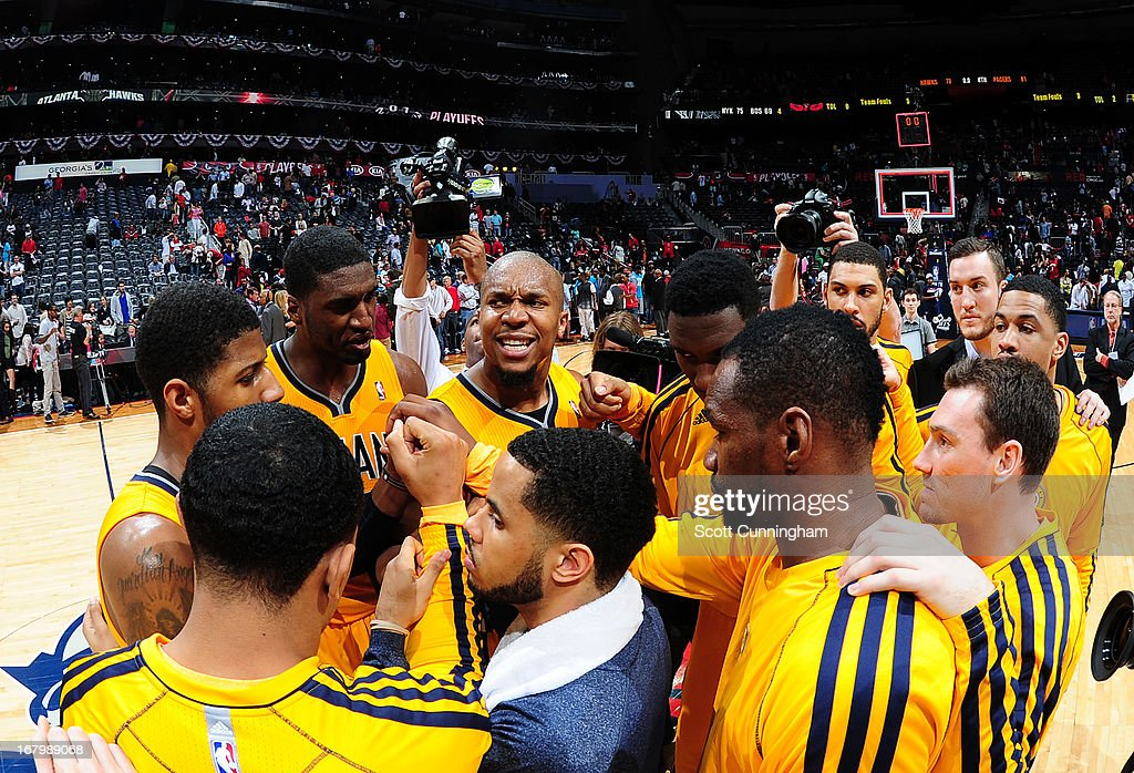 Members of the Indiana Pacers Huddle during the game against of the Atlanta Hawks in Game Six of the Eastern Conference Quarterfinals in the 2013 NBA Playoffs on May 3, 2013 at Philips Arena in Atlanta, Georgia.