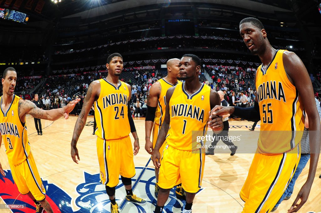 Members of the Indiana Pacers walk off the floor after the game against the Atlanta Hawks during Game Six of the Eastern Conference Quarterfinals in the 2013 NBA Playoffs on May 3, 2013 at Philips Arena in Atlanta, Georgia.
