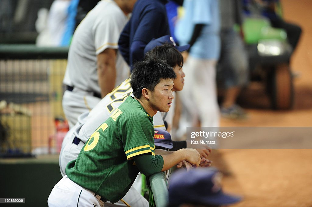 Members of the Industrial All-Star Team look on from the dugout during the World Baseball Classic exhibition game against Team Netherlands at Intercontinental Stadium on Tuesday, February 26, 2013 in Taichung, Tawain.