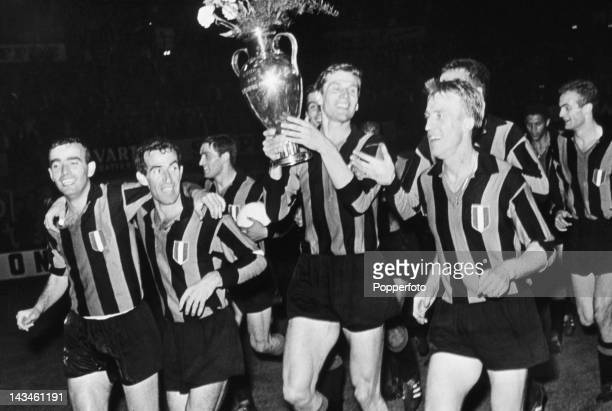 Members of the Inter Milan team with the trophy after beating Real Madrid 31 in the European Cup Final at the Prater Stadium Vienna 27th May 1964