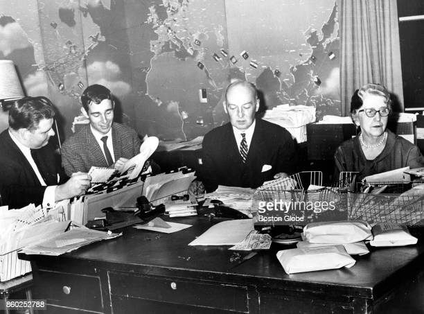 Members of the International Friendship League of Boston are pictured on Nov 21 1961 From left are Robert Yonis Ebbe Reker George Wilkie and Marie...