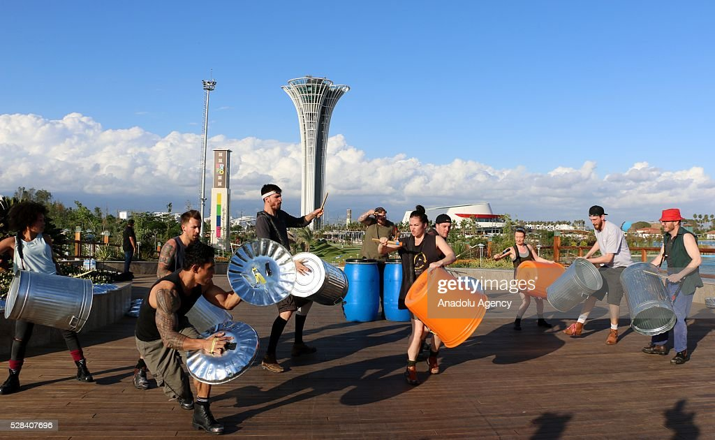 Members of the international percussion group 'Stomp' perform a show within EXPO 2016 Antalya activities at EXPO 2016 compound in Antalya, Turkey on May 05, 2016.