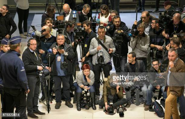 Members of the international press wait for former ministerpresident of Catalonia Carles Puigdemont and former members of his regional government to...
