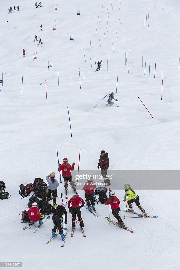 Members of the International Ski Academy queuing for the slalom course on September 16, 2013 in Saas-Fee, Switzerland.
