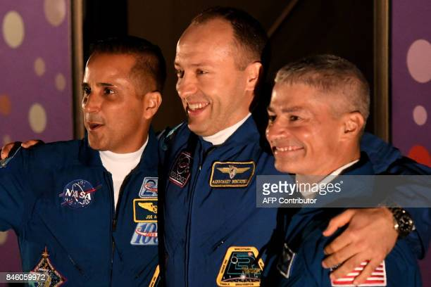 Members of the International Space Station expedition 53/54 US astronauts Joseph Akaba and Mark Vande Hei and Russia's cosmonaut Alexander Misurkin...