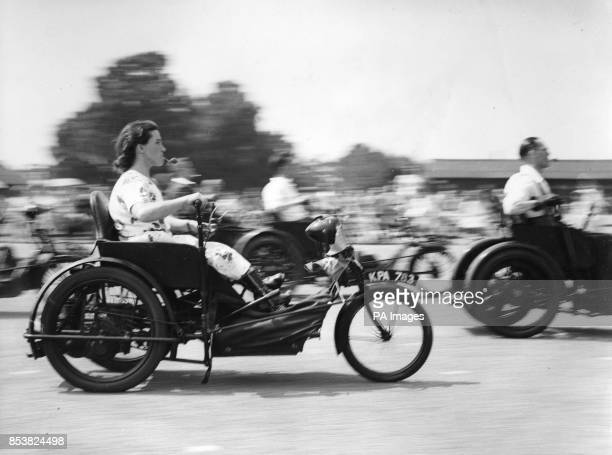 Members of the Invalid Tricycle Association take part in an egg and spoon race at the organisation's second annual rally at the Military Camp in...