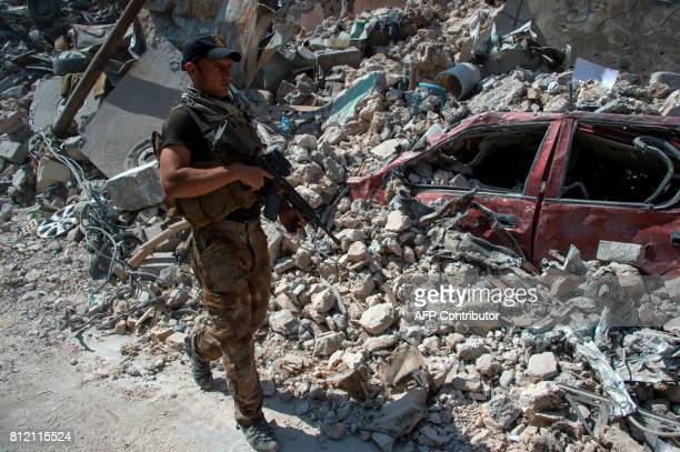 Members of the Iraqi forces in the Old City of Mosul on July 10 during the offensive to retake the embattled city from Islamic State group fighters...