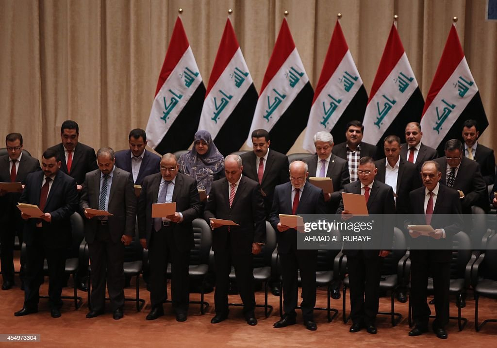 Members of the Iraqi parliament gather to vote on Iraq's new cabinet lineup at the parliament in Baghdad on September 8 2014 Iraqi MPs approved...