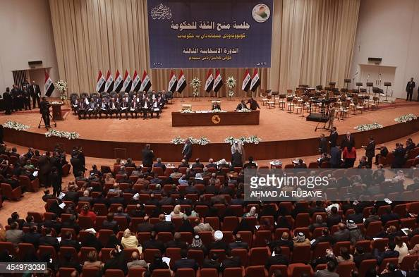 Members of the Iraqi parliament gather to vote on Iraq's new government lineup at the parliament in Baghdad on September 8 2014 Iraqi MPs approved...