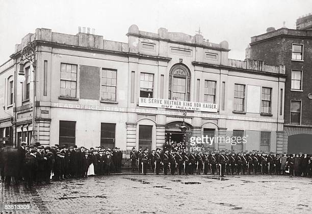 Members of the Irish Citizen Army outside Liberty Hall the headquarters they share with the Irish Transport and General Workers Union in Dublin...