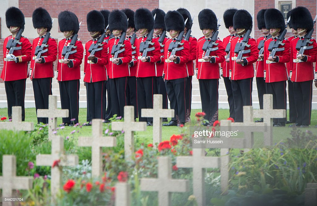 Members of the Irish Guard attend the commemoration of the Battle of the Somme at the Commonwealth War Graves Commission Thiepval Memorial on July 1, 2016 in Thiepval, France.