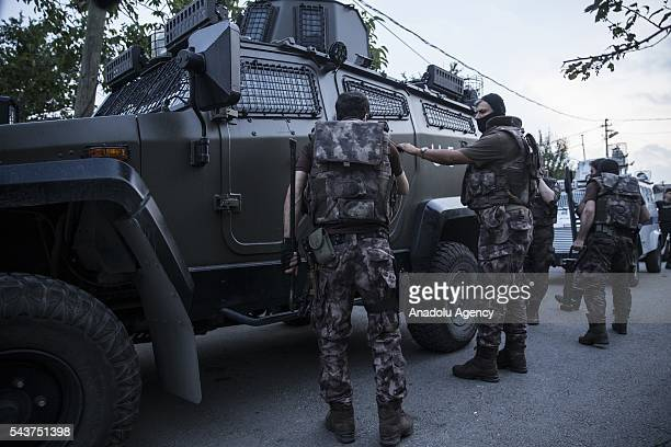 Members of the Istanbul Counterterrorism Branch office team carry out an operation against Daesh terror organization in Istanbul Turkey on June 30...