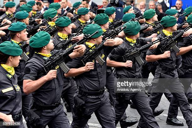 Members of the Italian Armed Forces attend the military parade during the celebrations of the Italian Republic Day in Rome Italy 02 June 2016