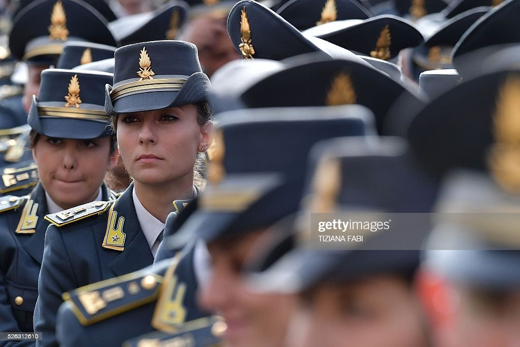 Members of the Italian Guardia di Finanza (Financial Guard) attend an audience of Pope Francis as part of the Jubilee Year of Mercy on April 30, 2016 at St Peter's square in Vatican.