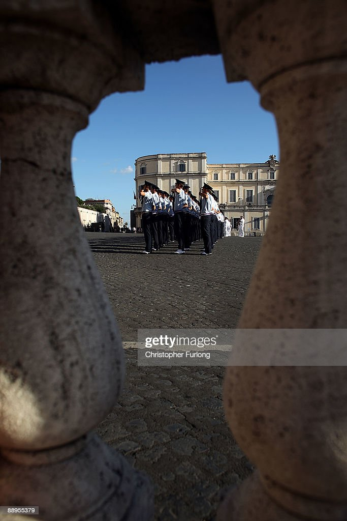 Members of the Italian Navy take part in the changing of the guard ceremony at Palazzo Del Quirinale next to the Presidential Palace on July 9, 2009 in Rome, Italy. With nearly 3000 years of history Rome continues to live up to its motto of The Eternal City being one of the founding cities of Western Civilisation.