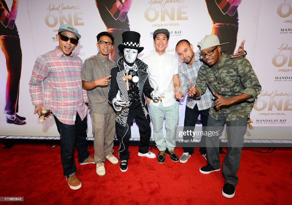 Members of the Jabbawockeez dance crew arrive at the world premiere of 'Michael Jackson ONE by Cirque du Soleil' at THEhotel at Mandalay Bay on June 29, 2013 in Las Vegas, Nevada.
