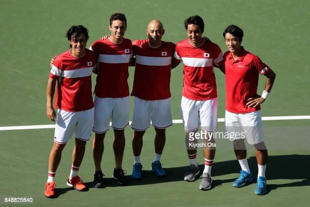 Members of the Japan Davis Cup team Go Soeda Ben McLachlan team captain Satoshi Iwabuchi Yasutaka Uchiyama and Yuichi Sugita pose for a photograph...