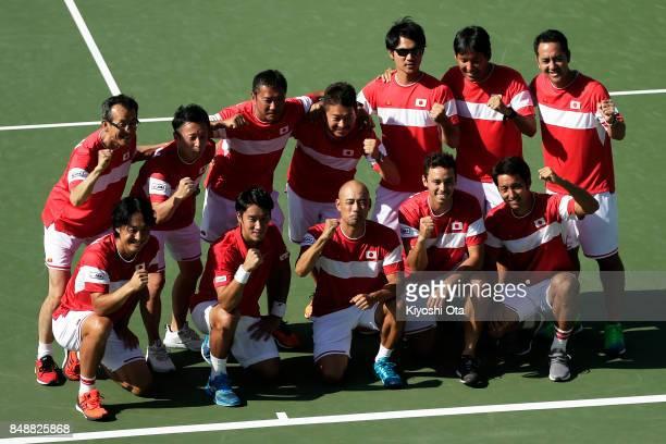 Members of the Japan Davis Cup team Go Soeda Yuichi Sugita team captain Satoshi Iwabuchi Ben McLachlan and Yasutaka Uchiyama pose for a photograph...