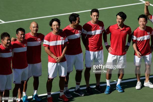 Members of the Japan Davis Cup team team captain Satoshi Iwabuchi Go Soeda Yasutaka Uchiyama Ben McLachlan and Yuichi Sugita celebrate the team's 31...