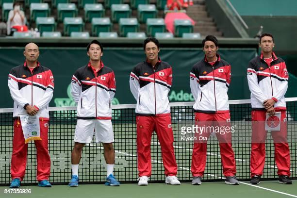Members of the Japan Davis Cup team team captain Satoshi Iwabuchi Yuichi Sugita Go Soeda Yasutaka Uchiyama and Ben McLachlan line up at the opening...