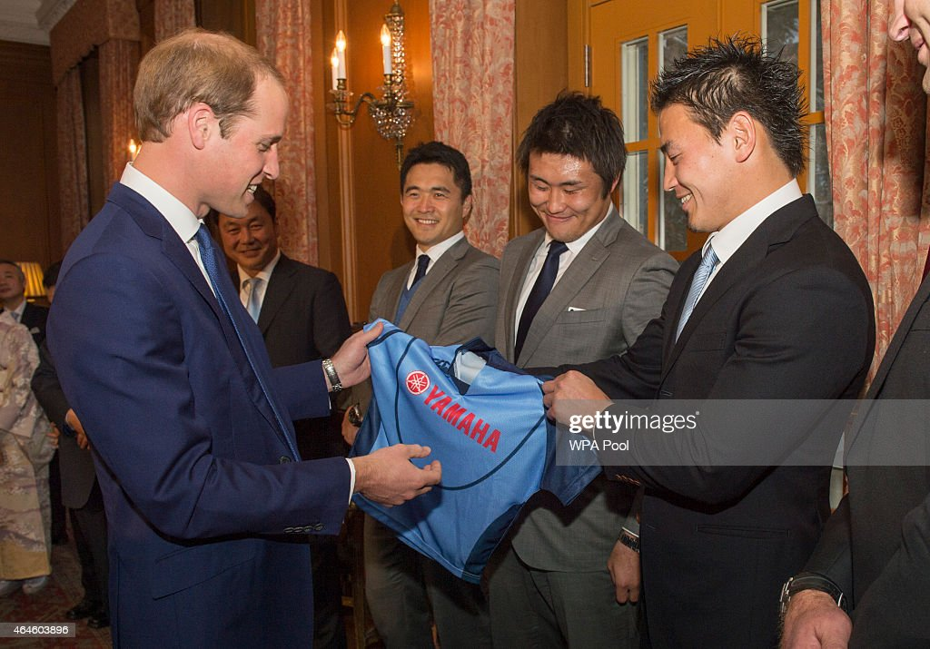 Members of the Japan Rugby World Cup Squad meet <a gi-track='captionPersonalityLinkClicked' href=/galleries/search?phrase=Prince+William&family=editorial&specificpeople=178205 ng-click='$event.stopPropagation()'>Prince William</a>, Duke of Cambridge and present him with a shirt for Prince George at a reception at Togo Palace, given by the Ambassador, where he met high profile Japanese figures including politicians, artists, young leaders, sportsmen and other leaders in their field on February 27, 2015 in Tokyo, Japan. The Duke of Cambridge is visiting Japan from February 26th to March 1st 2015.