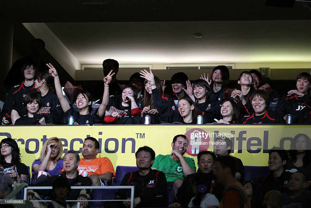 Members of the Japan women's national basketball team attend the NBA game between the San Antonio Spurs and the Phoenix Suns at US Airways Center on April 25, 2012 in Phoenix, Arizona.