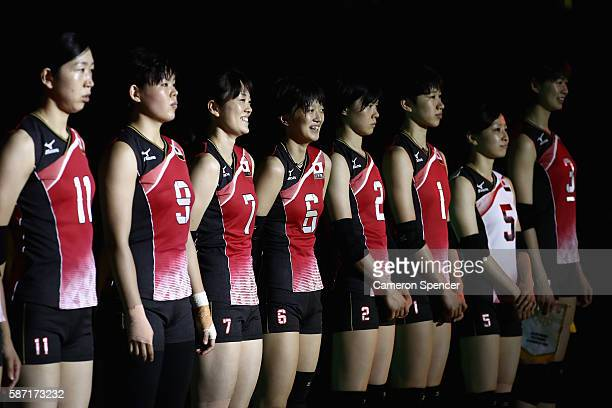 Members of the Japan Women's volleyball team are introduced prior to the Women's Preliminary Pool A match between Japan and Cameroon on Day 3 of the...