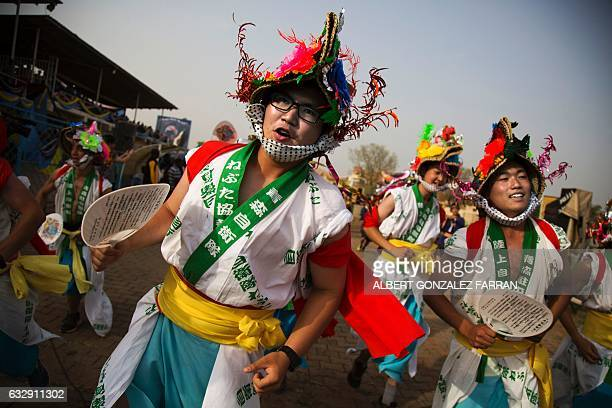 Members of the Japanese army deployed by the United Nations Mission in South Sudan perform traditional Japanese dances on January 28 during the...