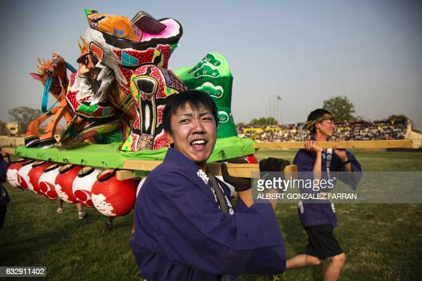 Members of the Japanese army deployed by the United Nations Mission in South Sudan perform on January 28 during the opening ceremony of the second...