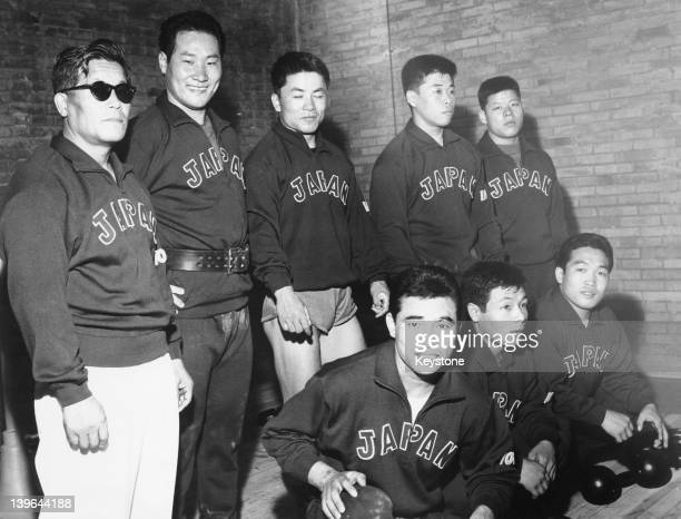 Members of the Japanese weightlifting team in training in Rome during the Olympic Games 11th August 1960 Manager Yukio Iguchi is at far left